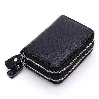 Short Wallet Genuine Leather RFID Blocking Safe Card Holder Forwomen - intl - 2