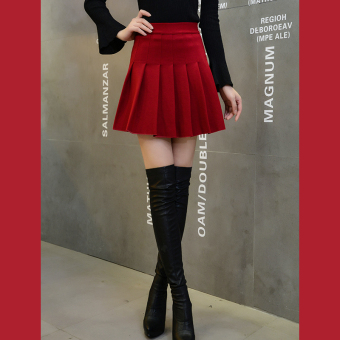 Shuilu versatile high-waisted pleated umbrella skirt New style skirt (Purplish red color)