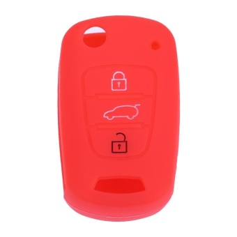 Silicone 3 Button Remote Flip Key Case Holder Fob Cover Fit forKIA(Red) - intl