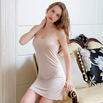 Silk summer female underwear vest dress silk dress (Pink) Price Philippines