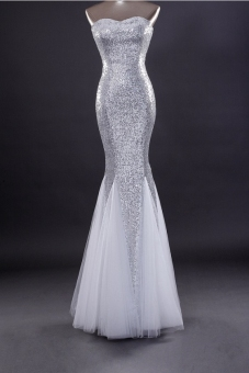 Silver royal evening dress elegant evening gown - Intl Price Philippines