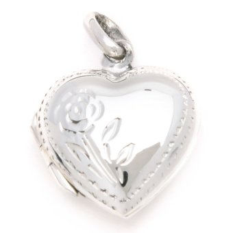 Silverworks C3705 Heart Locket with Flower Pendant (Silver)