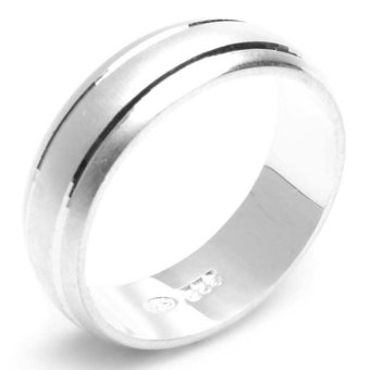 Silverworks R4317 Sandblasted with 2 Lines Ring (Silver)