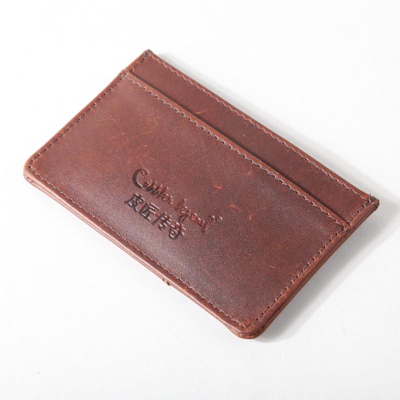 Simple first layer of leather multi-function card holder mini purse bag card holder (0900606-D)