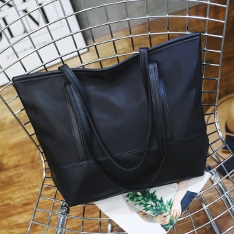 Simple nylon cloth with bag casual shoulder bag New style women's bag (Black)
