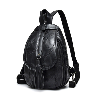 Simple soft leather female chest pack backpack (HC5902 black tassled Models)