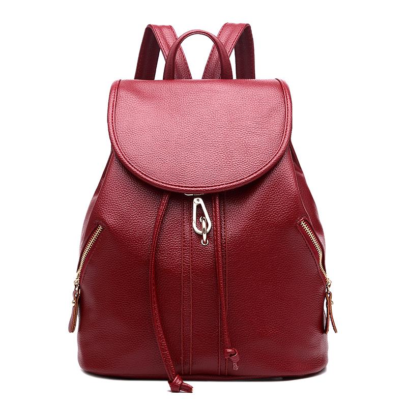 Simple student school bag women's bag (Adhesive hook backpack wine red)