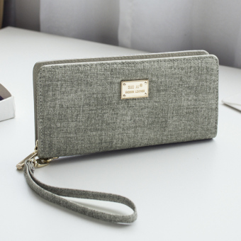Simple women long zip Japanese and Korean style wallet New style wallet (Light gray color)
