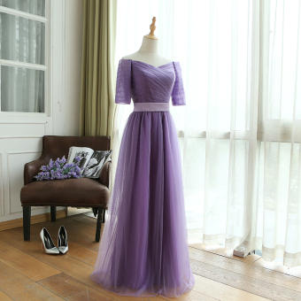 Sisters banquet years party V-neck toast evening dress bridesmaid dress (Ash purple) (Ash purple)