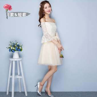 Sisters Korean-style female New style short evening dress bridesmaid dress (Champagne short B Section 968)