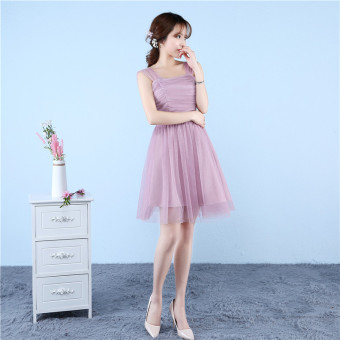 Sisters Korean-style slimming graduation evening dress bridesmaid dress (A bean paste shoulder)