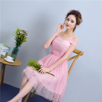 Sisters Korean-style slimming graduation evening dress bridesmaid dress (C pink tie shoulder)