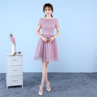 Sisters Korean-style slimming graduation evening dress bridesmaid dress (D bean paste A-line shoulder)