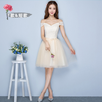 Sisters winter New style bridesmaid dress (Champagne color F models short 968)