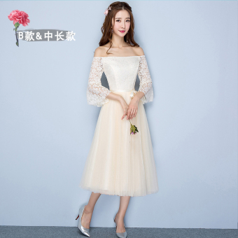Sisters winter New style bridesmaid dress (Champagne color medium-length B Section 968)