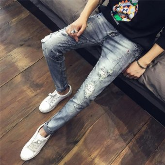 Size 28-34 Patchwork Jeans Men Ripped Jeans Fashion pencil pants Jeans Hole Denim Straight Slim Fit Casual Pants - 252Grey - Intl