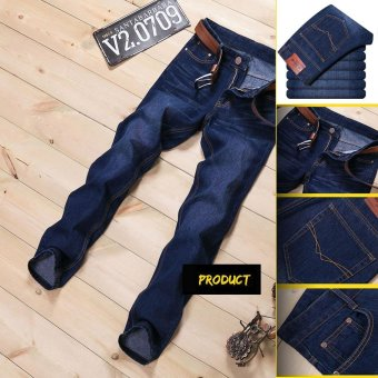 Size 28-38 Men Denim Jeans Straight Slim Male Jeans Pants FashionClassical Casual Business Style Men Ripped Jeans - 519Blue - Intl