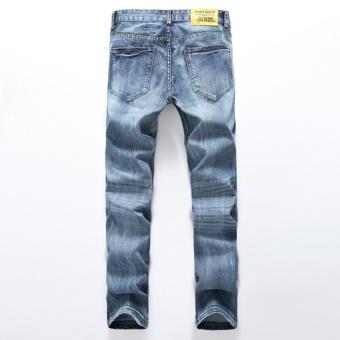 Size 28-38 NEW denim ripped jeans for men skinny Distressed slim designer biker hip hop hole jeans male Straight- Light Blue - intl - 3