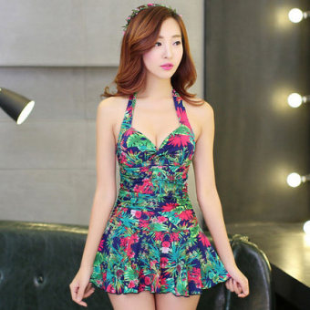 Size piece Skirt Style boxer Slimming effect swimsuit (Blue bottom blue flower)