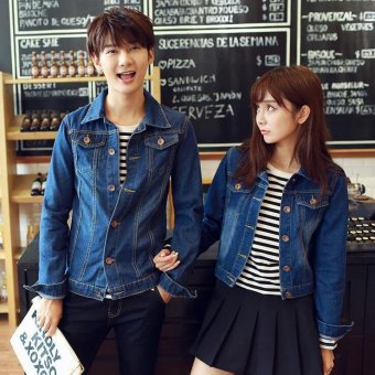 Size S-4XL New Korean fashion lovers washed denim clothing couplesjeans jacket - Women Dark Blue - Intl