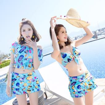 Skadi Korean Style SW7810 Fun Beach 3 Pieces Cool Girl Women BeachTankini Tops sleeves Blouse Sport Skirt with Short Sexy SwimwearHot Spring Swimsuit Set( Blue)