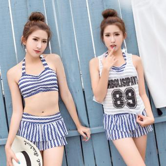 Skadi Korean Style SW7837 Fun Beach 3 Pieces Cool Girl Women BeachTankini Tops sleeves Short Sleeves Blouse Sport Skirt with ShortSexy Swimwear Hot Spring Swimsuit Set(Blue)