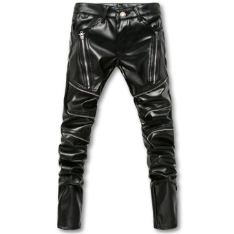 Skinny Mens Faux Leather PU Tight Black Joggers Biker Pants For MenBoys With Zippers - intl