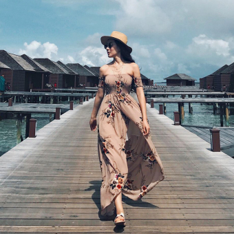 Slim fit Slimming effect bohemian dress beach dress