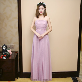 Slimming bridesmaid dress (Red bean paste color long boob tube top)