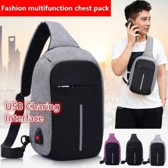 Sling Backpack, Antitheft Outdoor Shoulder Chest Pack Unbalance Crossbody Bag for Men Boys Travel Daypack,Grey - intl