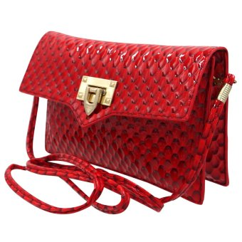 Sling Bag Ladies Decorative Leather Clip Lock (Red) - 2
