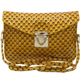 Sling Bag Ladies Decorative Leather Push Button Lock (Yellow Brown)