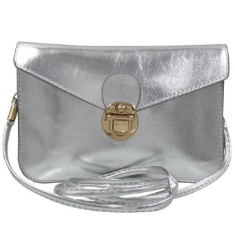 Sling Bag Leather Ladies Casual (Silver)