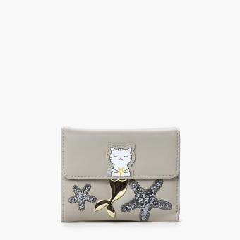SM Accessories Girls Mermaid Cat Wallet (Gray)