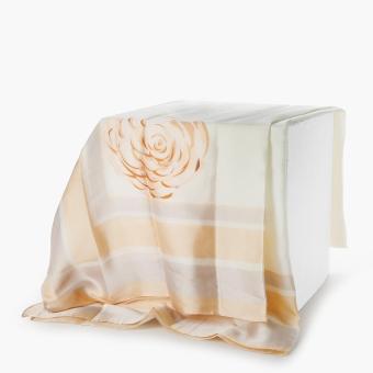 SM Accessories Ladies Silk Floral Shawl (Cream)