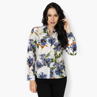 SM Woman Career Floral Long Sleeve Blouse (Blue) Price Philippines