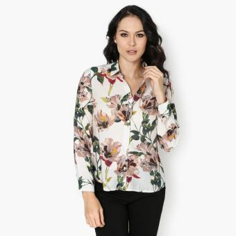SM Woman Career Floral Long Sleeve Blouse (Brown) Price Philippines