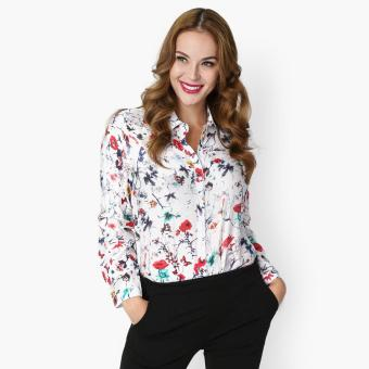 SM Woman Career Floral Long Sleeved Blouse (Red) Price Philippines