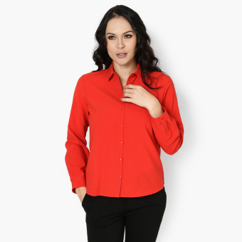 SM Woman Career Long Sleeve Blouse (Red) Price Philippines