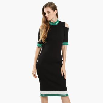 SM Woman Career Pinstriped Knit Shift Dress (Black) Price Philippines