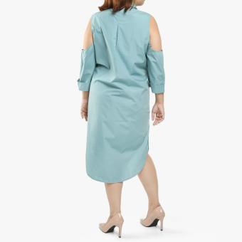 SM Woman Plus Poplin Cold-Shoulder Shirt Dress (Blue Green) - 2