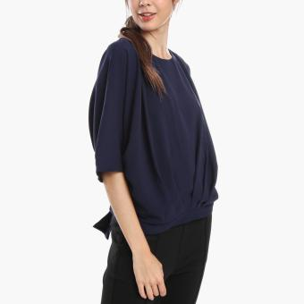 SM Woman Prima Dolman-Sleeved Pleated Top (Navy Blue)