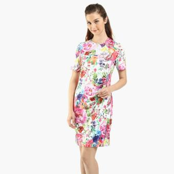 SM Woman Prima Floral Ruched Shift Dress (Pink)