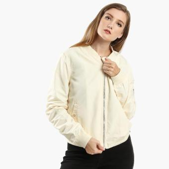 SM Woman Ruched Bomber Jacket (Beige)