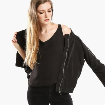 SM Woman Ruched Bomber Jacket (Black)