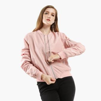 SM Woman Ruched Bomber Jacket (Pink)