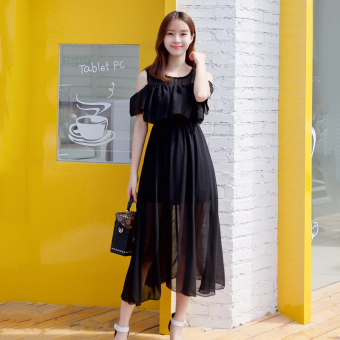 Small fresh Slim fit Slimming effect long section skirt chiffon dress (Black)