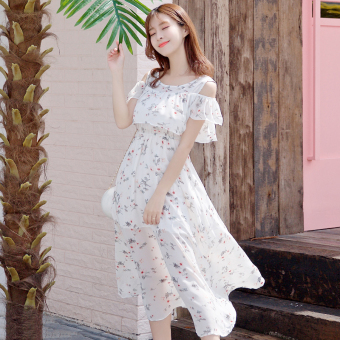 Small fresh Slim fit Slimming effect long section skirt chiffon dress (Light Color)