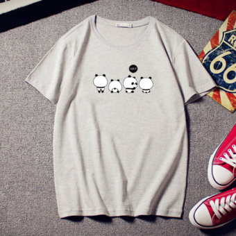 Small PANDA cute summer Print short-sleeved t-shirt (T-207 gray four PANDA) Price Philippines