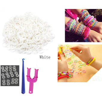 Small Rainbow Colorful Loom Rubber Band Bracelet Kit White